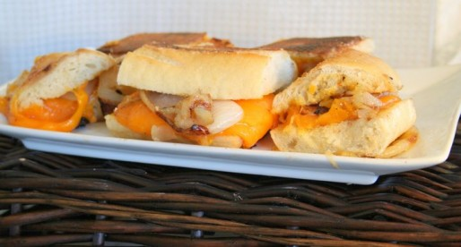 French Bread Grilled Cheese with Caramelized Onions and Sharp Cheddar Cheese