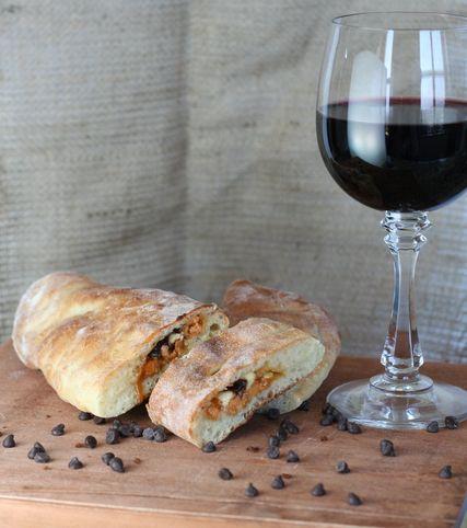 calzone and wine