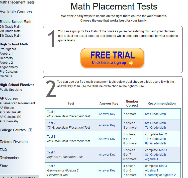 Free Math Placement Test Online