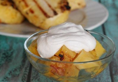 Tropical Grilled Pineapple with Coconut Cream Dipping Sauce aka Pina Colada Dessert