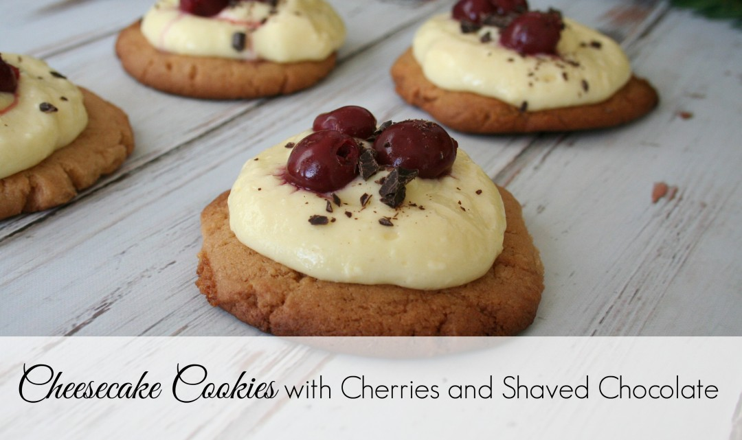 Cheesecake Cookies with Cherries and Shaved Chocolate