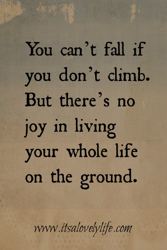 You can't fall if you don't climb.