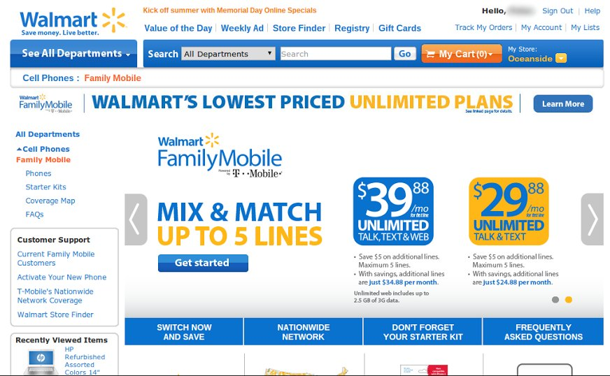 walmart family plan cell phone ad