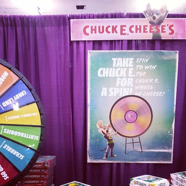 You have to stop by the @chuckecheese Booth! So much fun and they have a prize wheel!!! #blogher14