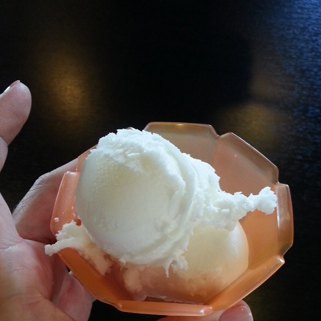It's never too early for gelato right? We are on our way to #blogher14 #vegan #lemon