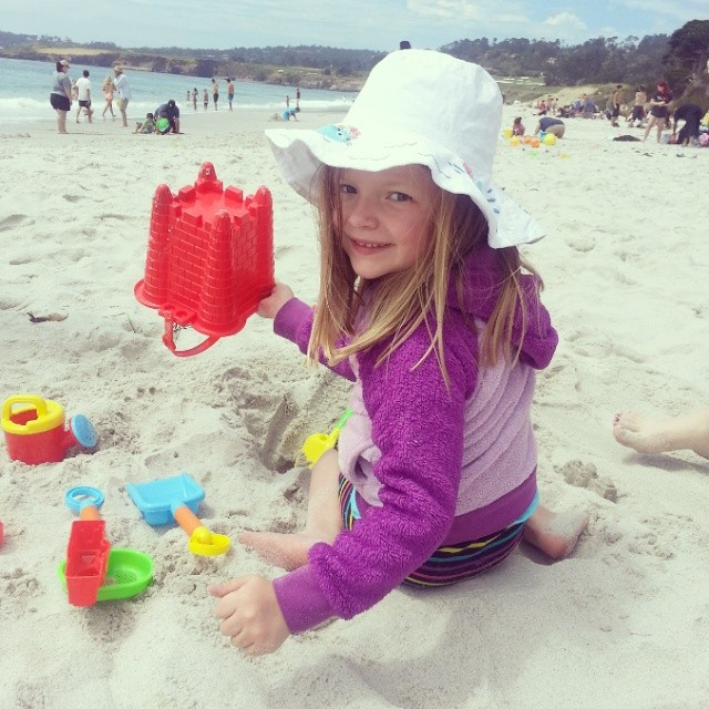 """The only thing she wanted to do on this vacation was to buy a """"bucket and spades """" and build a sand castle with Daddy."""