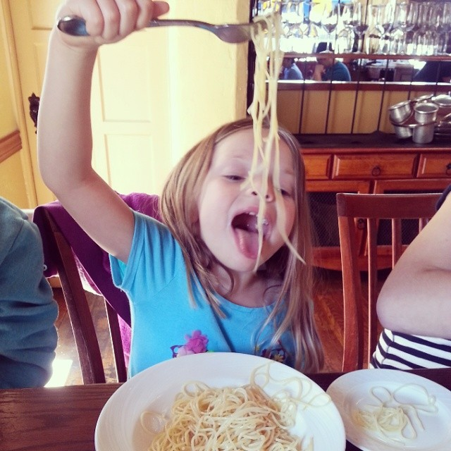 Somebody loves her pasta and she even ordered it herself with