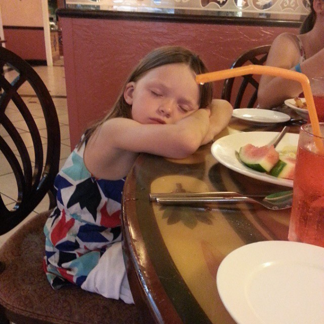 Someone fell asleep at the table! This is what happens after a fun packed day @beachesresorts and a full tummy filled with yummy food! #BeachesMoms
