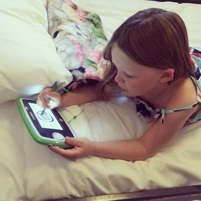 After a quick nap she is back in action! @leapfrogofficial #LeapPad3 #BeachesMoms #ad