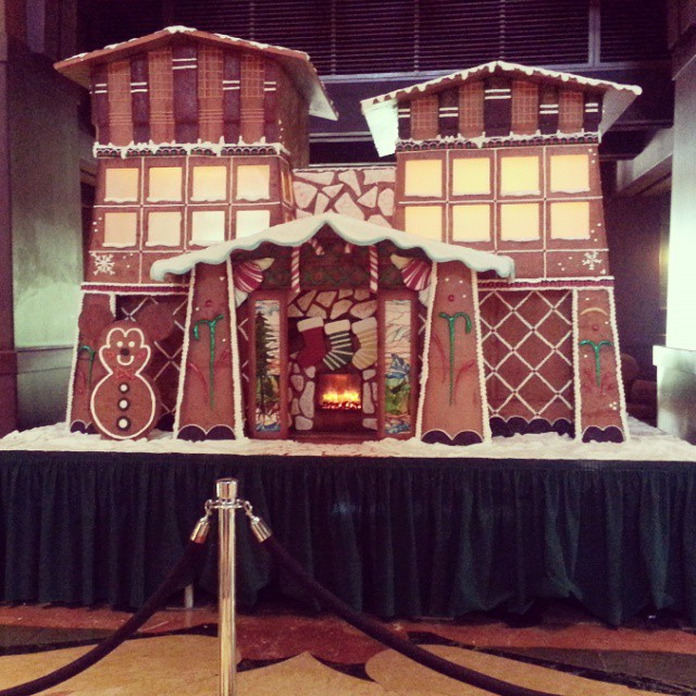The gingerbread house in Disney's Grand Californian Hotel will be finished soon. It already smells divine! #disneyholidays