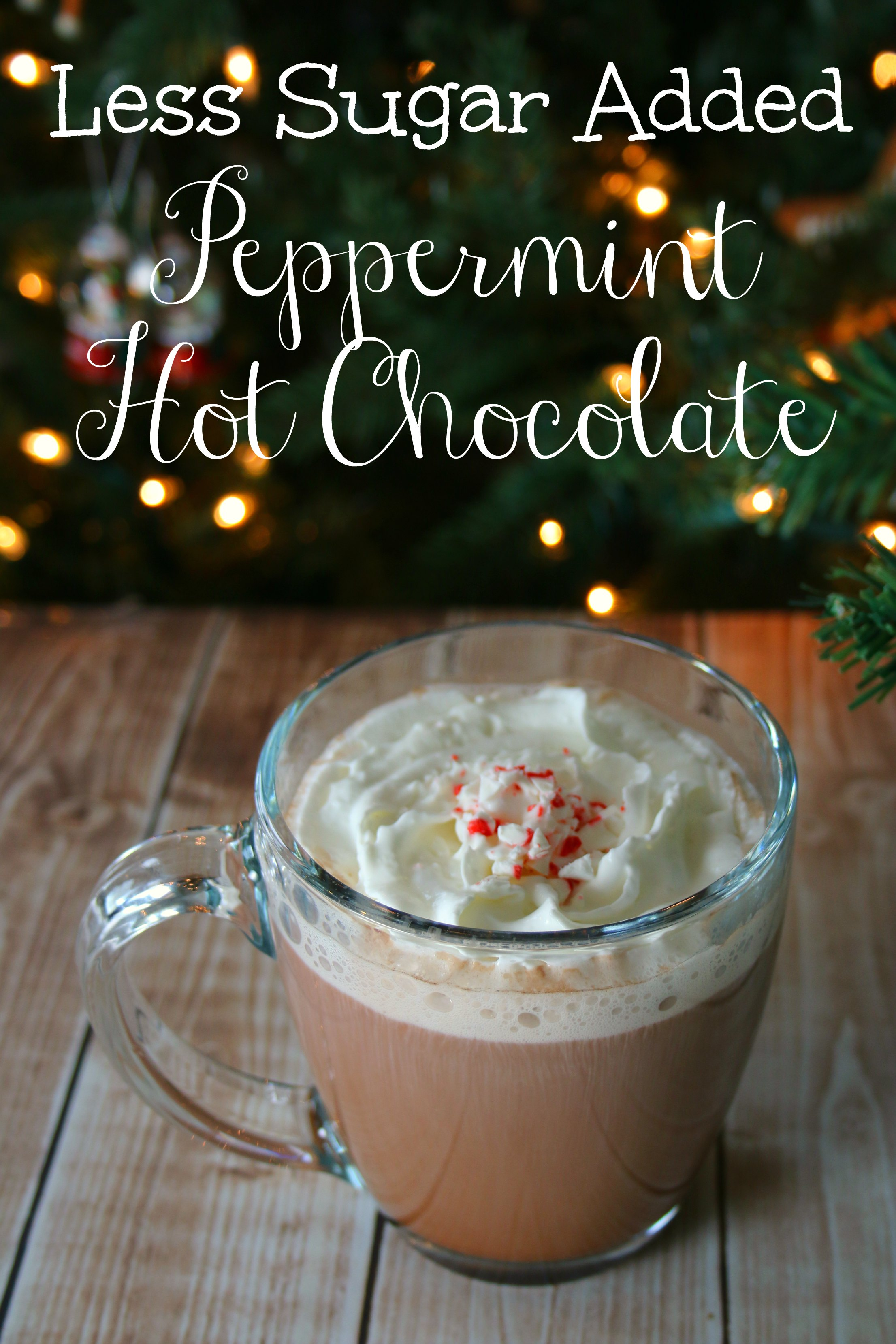 less sugar added peppermint hot chocolate