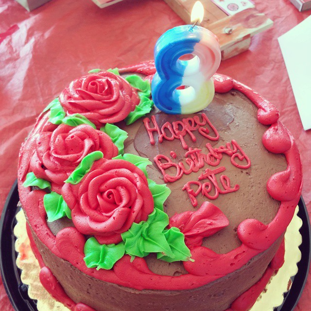 This is what happens when your husband's birthday is also Valentine's Day and the bakery has no birthday cakes... and you forgot to buy candles. Happy birthday @reesepeter Love you!  #birthday #bday #party  #instabday #bestoftheday #birthdaycake #cake #friends #celebrate #photooftheday #instagood #candle #candles #happy #young #old #years #instacake #happybirthday #instabirthday #born #family
