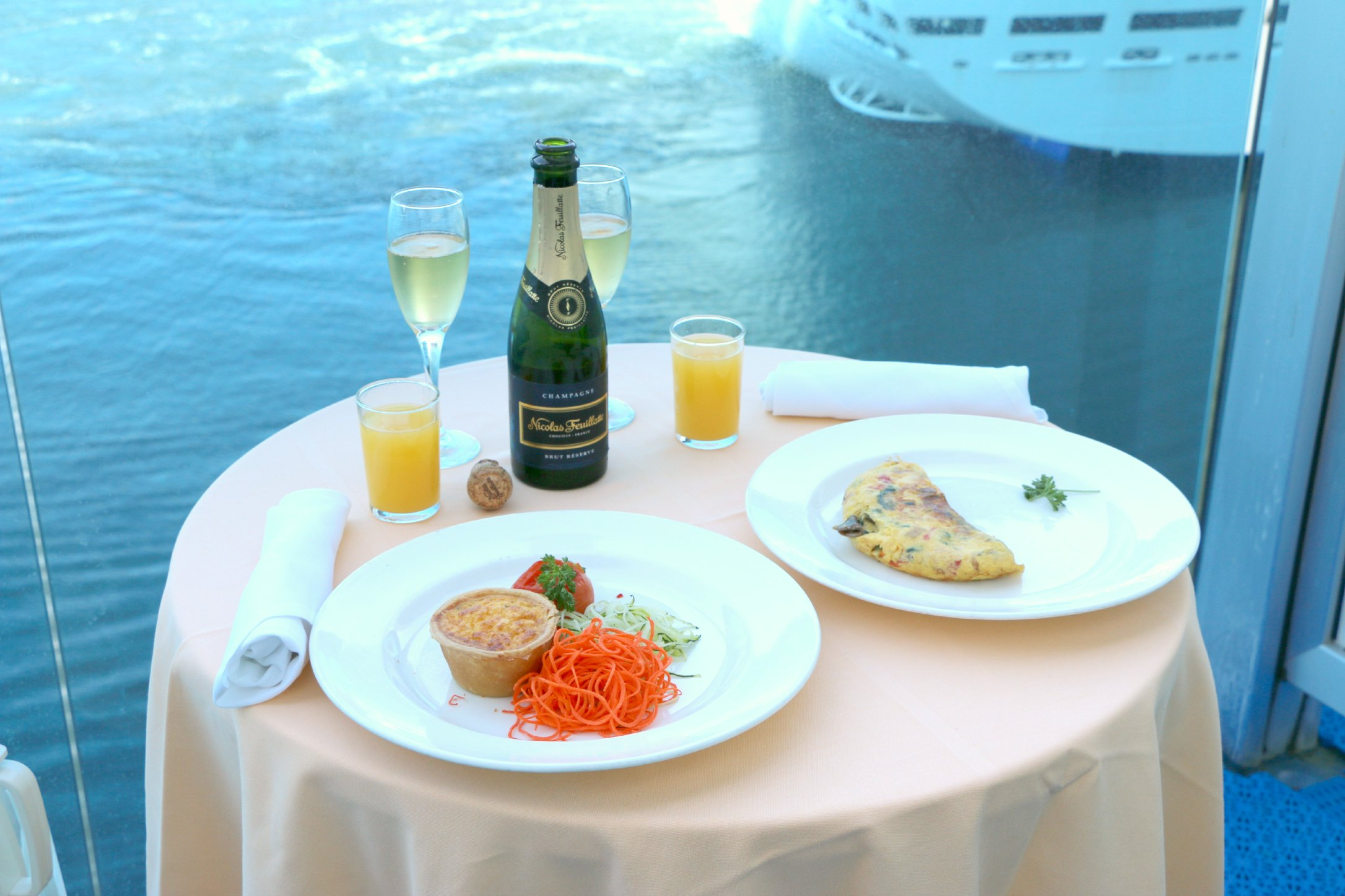 champagne balcony breakfast