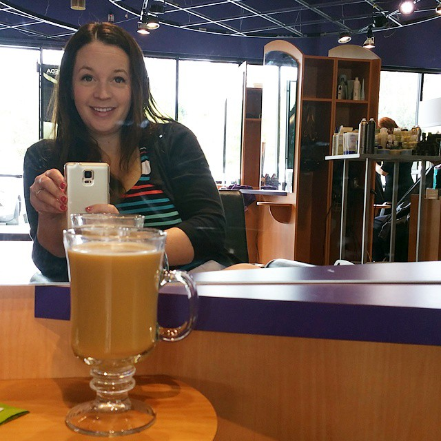 That is my look of happiness. A big cup of coffee (decaf... but still) before my sad hair gets some help. Jetlag is real and I'm feeling it still! Hopefully this will help! ♡♡♡ #hair #hairstyle #instahair #haircolor #longhairdontcare  #straighthair #coffee