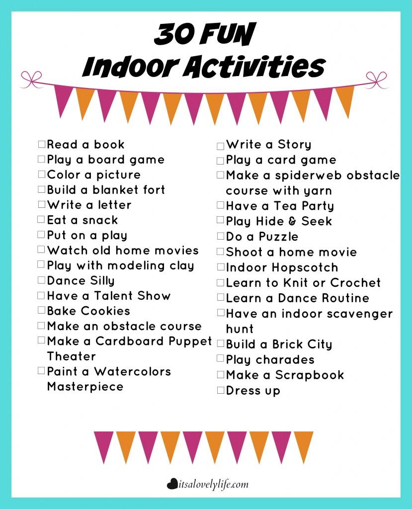 30 Fun Indoor Activities