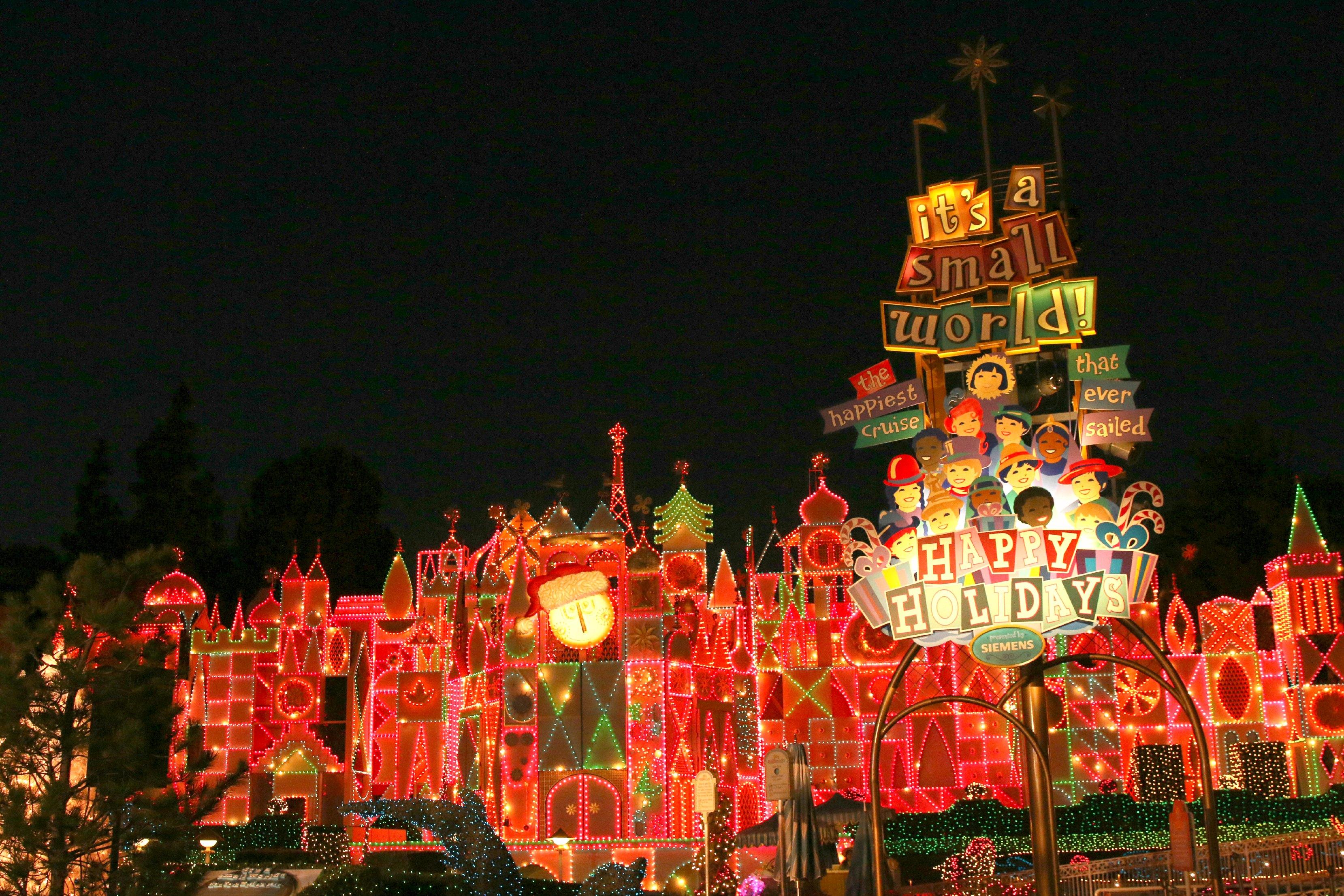 small world disneyland holiday time