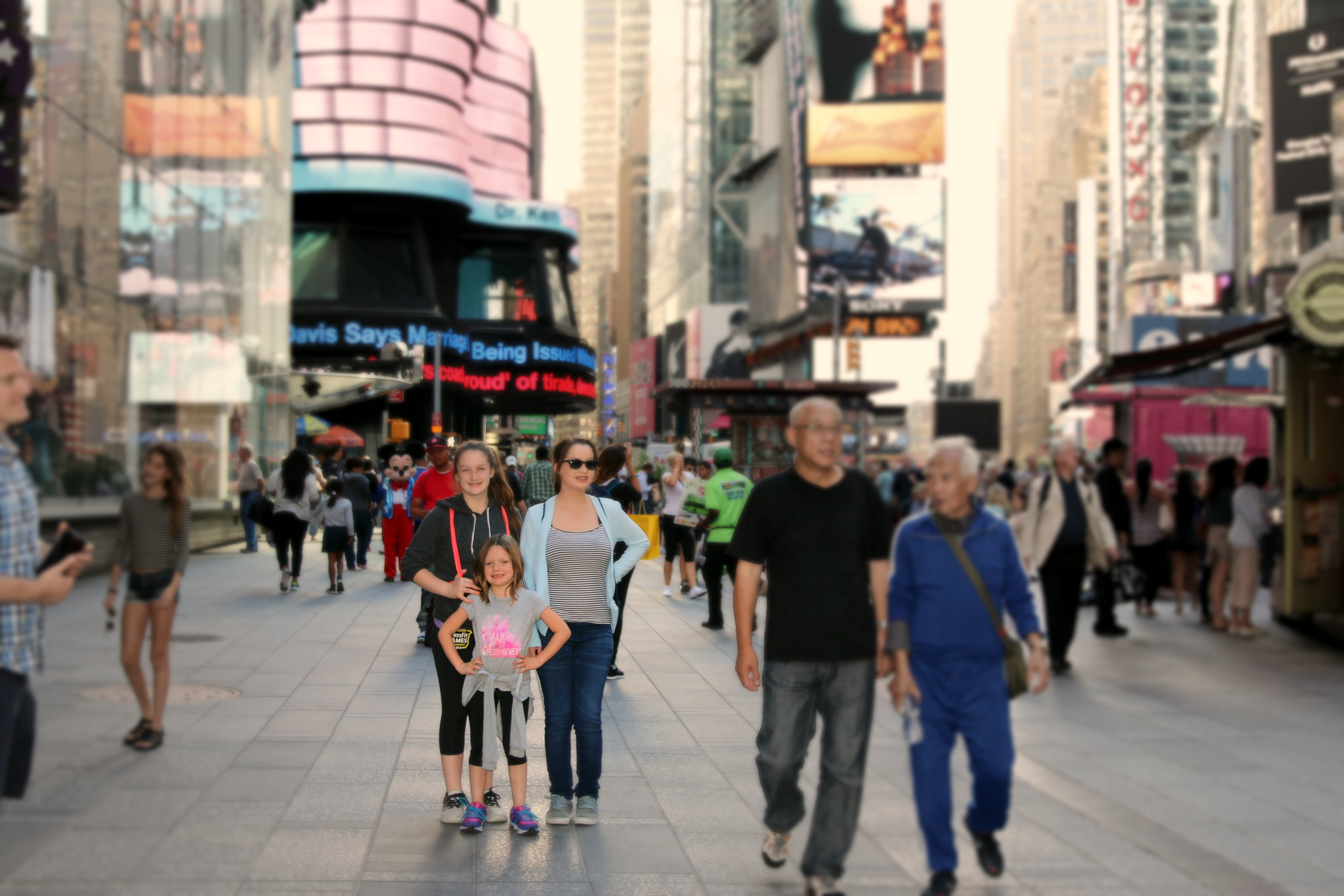 time square with kids
