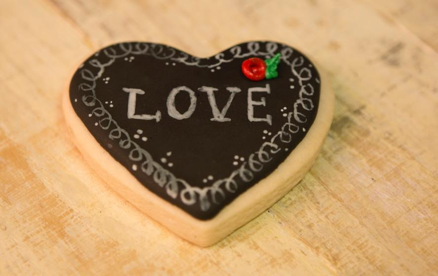 Chalkboard Heart Shaped Cookies