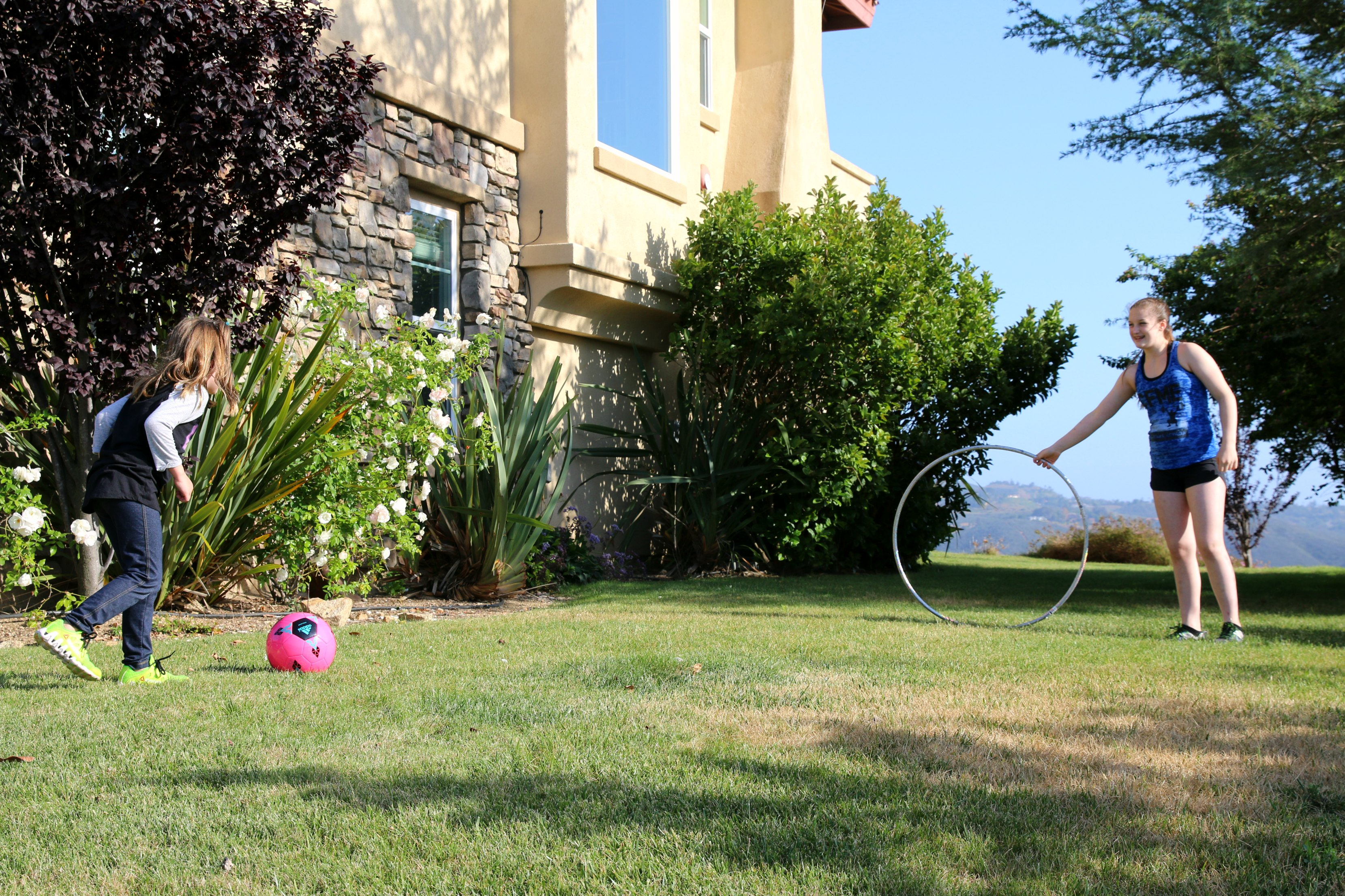 outdoor games with just a ball and hula hoop