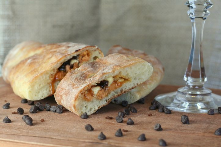 double chocolate chip and peanut butter calzone