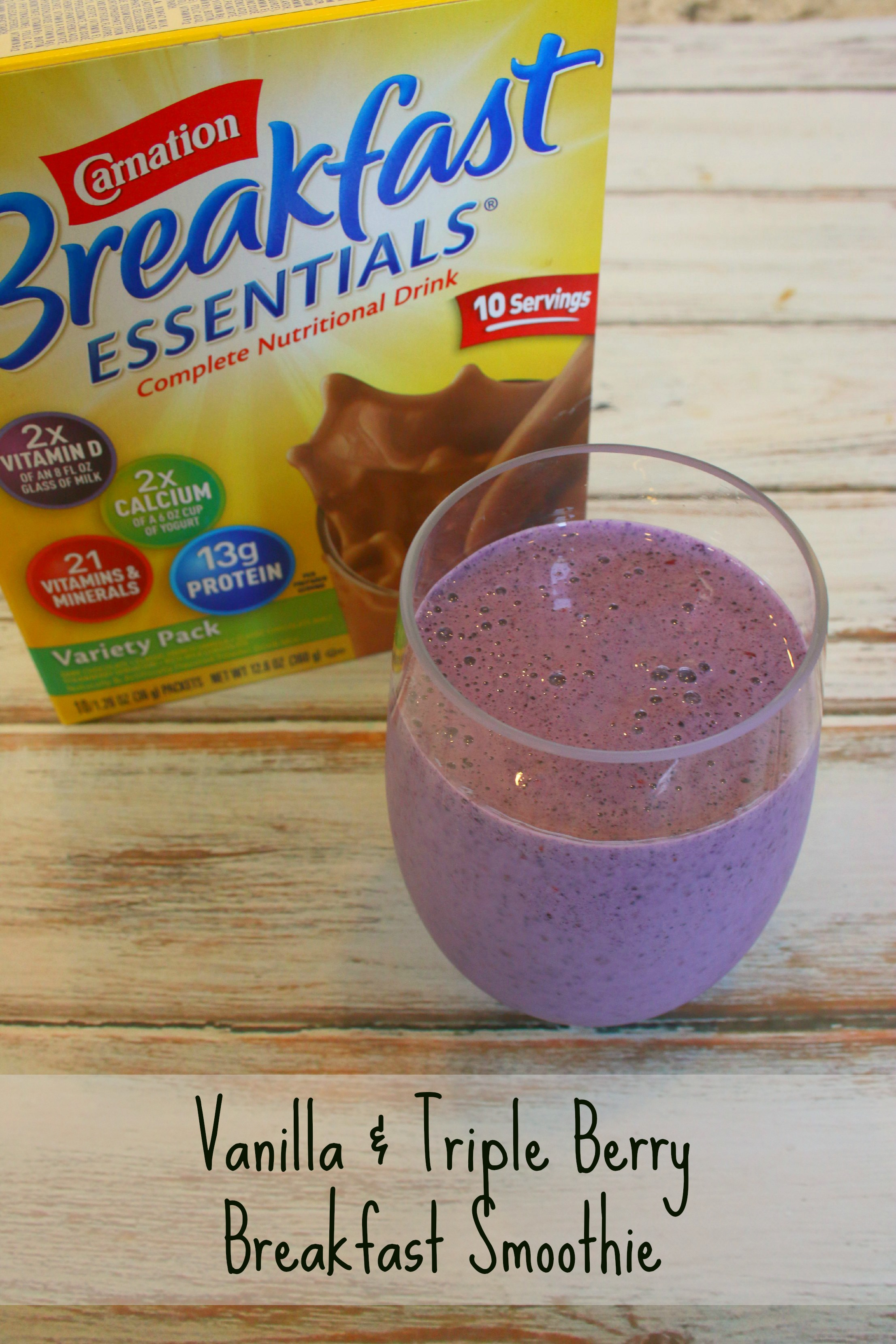 Vanilla And Triple Berry Breakfast Smoothie With Carnation