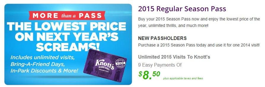 2015 Knott's Season Pass