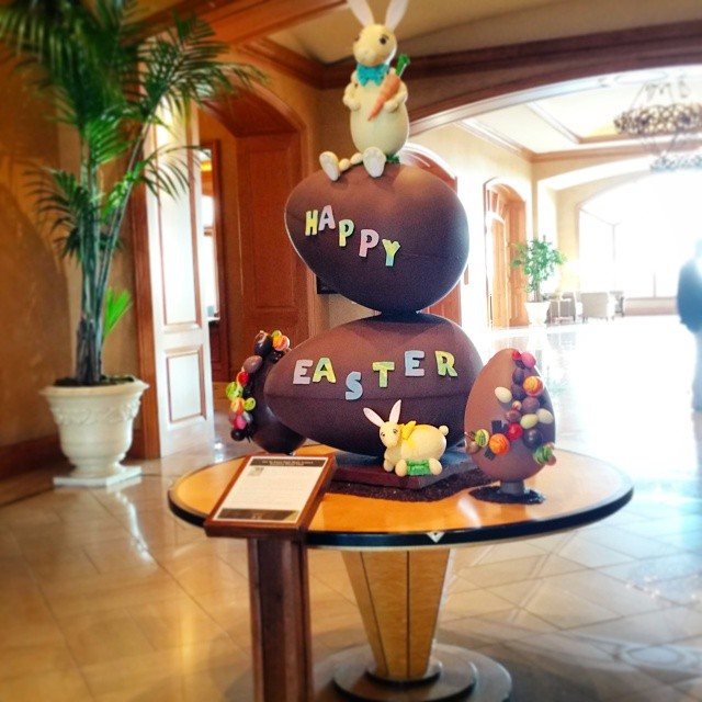 Trying not to eat the huge decorative chocolate eggs ... they look delicious! Such a beautiful resort. Can't wait for tomorrow and the ♡♡♡♡♡