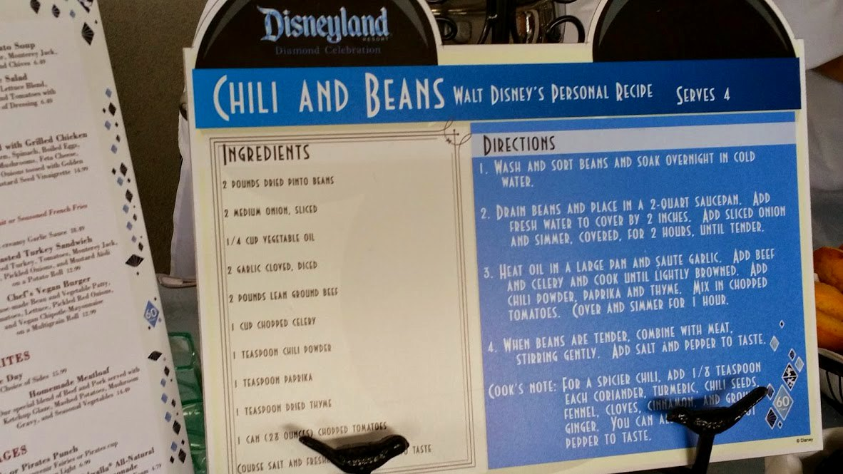 walt disneys personal chili recipe