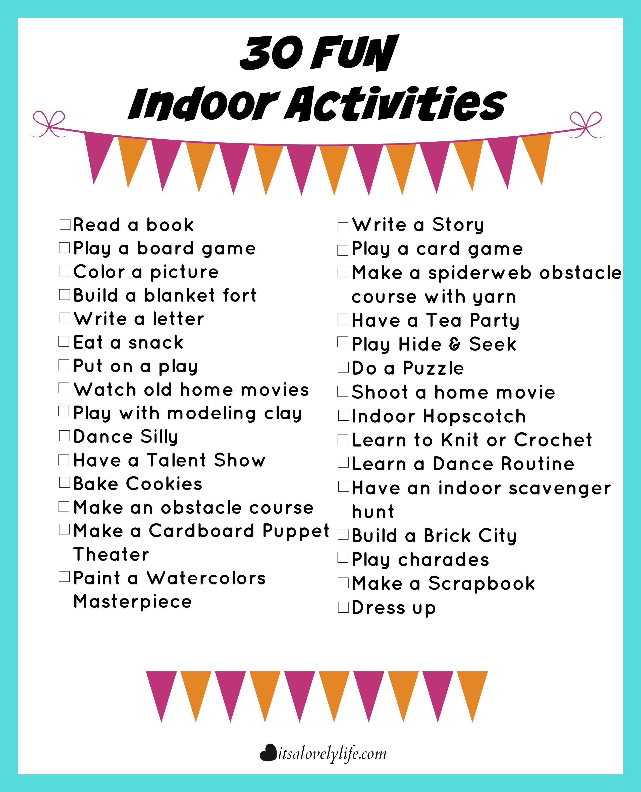 30 Fun Indoor Activities - It's a Lovely Life!