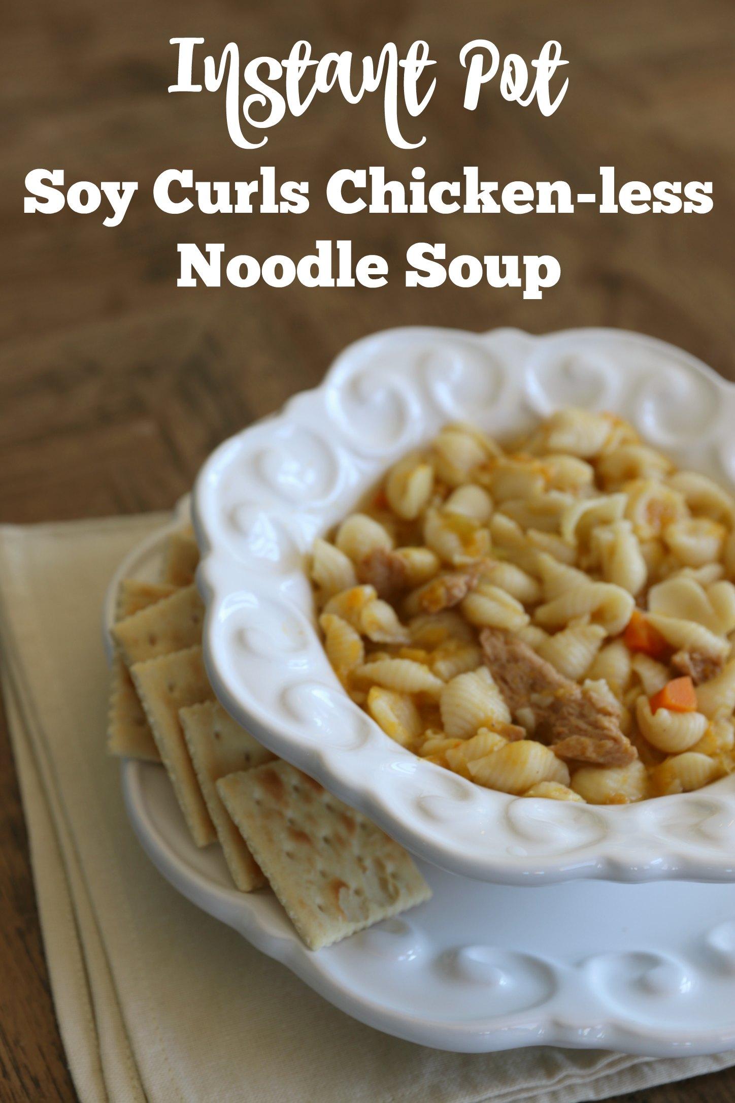 Instant Pot Soy curls chicken noodle soup vegan