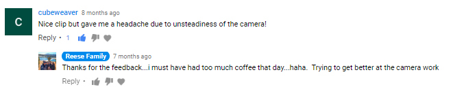 youtube shaky camera comment