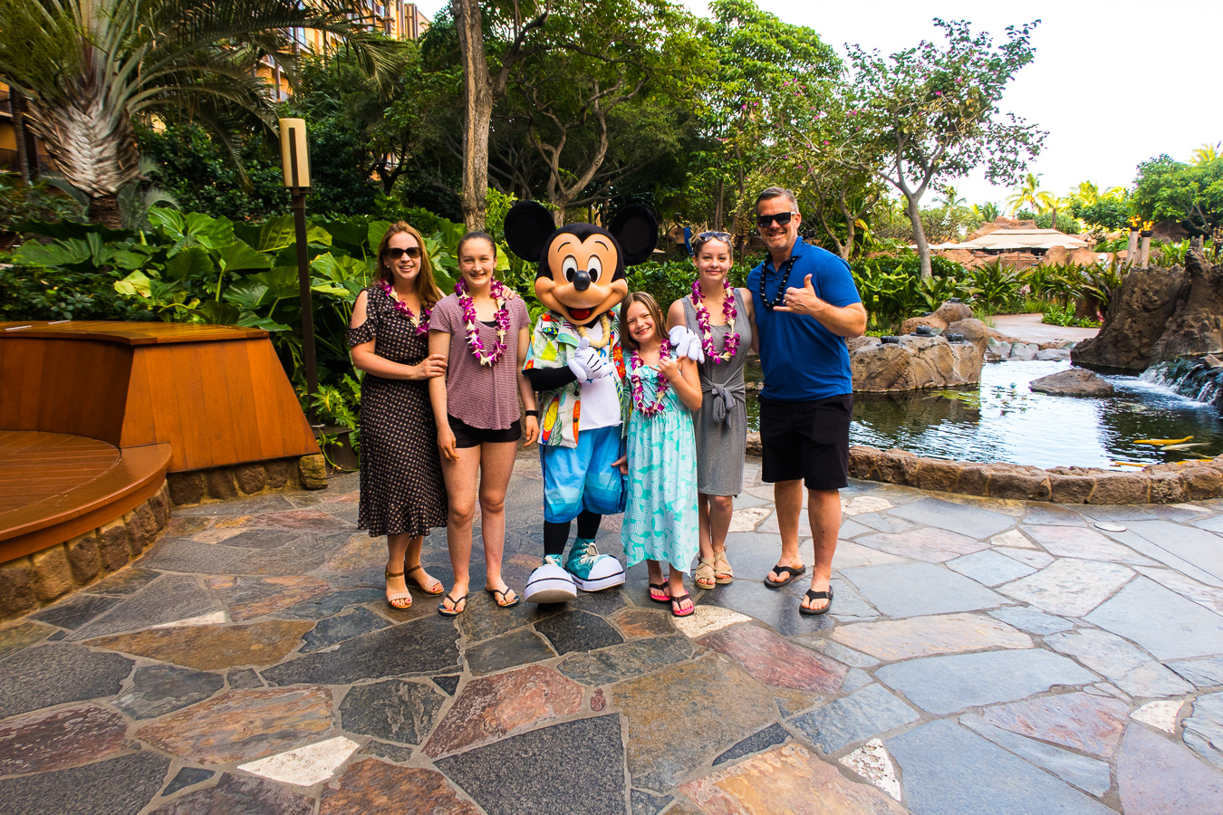 Family meeting Mickey Mouse at Disney's Aulani
