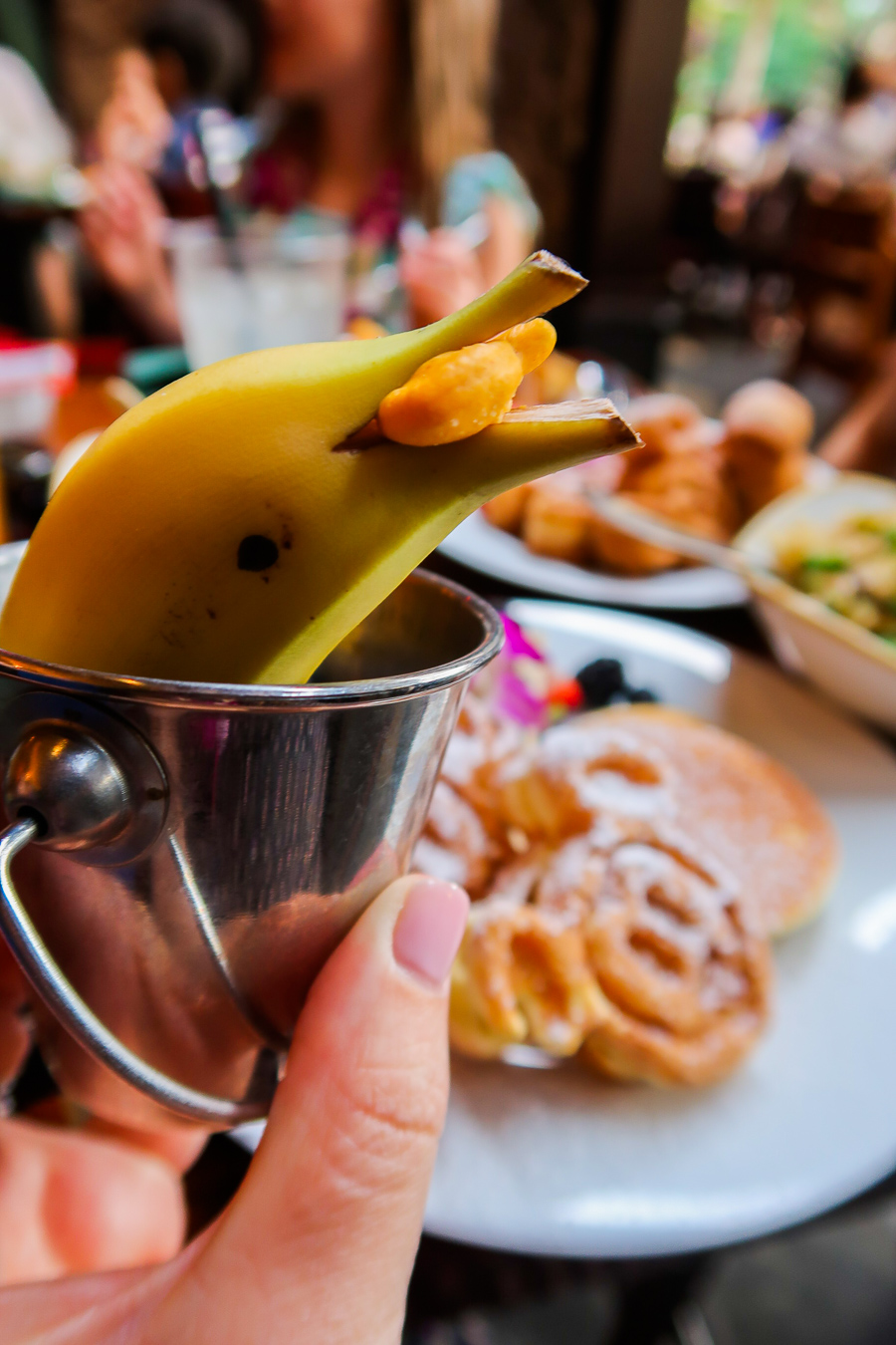 Banana cut in the shape of a dolphin at the breakfast buffet at Disney's Aulani