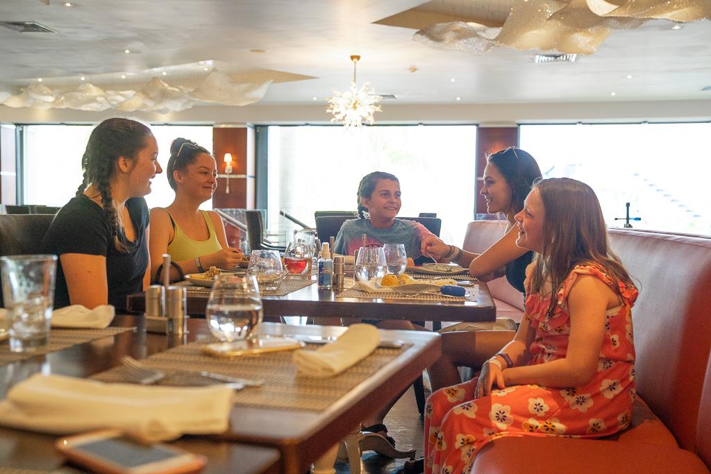 Girls enjoying a meal at the buffet at the Grand at Moon Palace Cancun