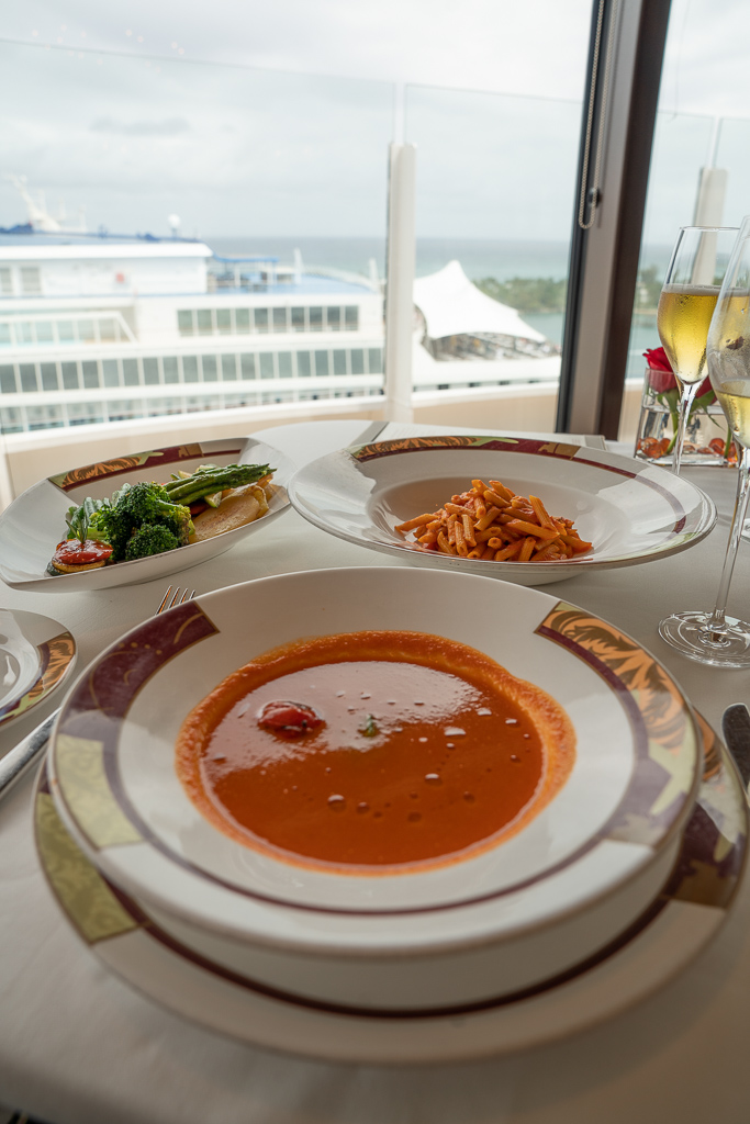 Pasta, soup, and vegetables at Palo Brunch on the Disney Dream