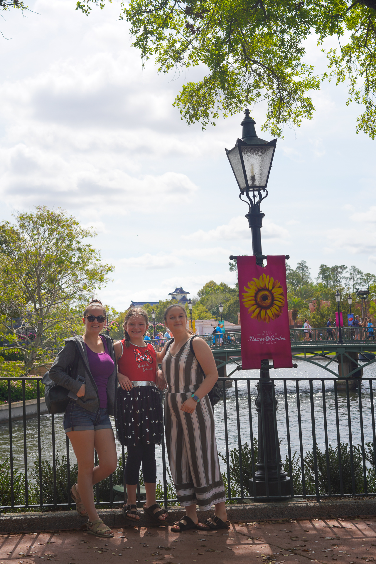 Three girls in Epcot during the Flower and Garden Festival at Walt Disney World