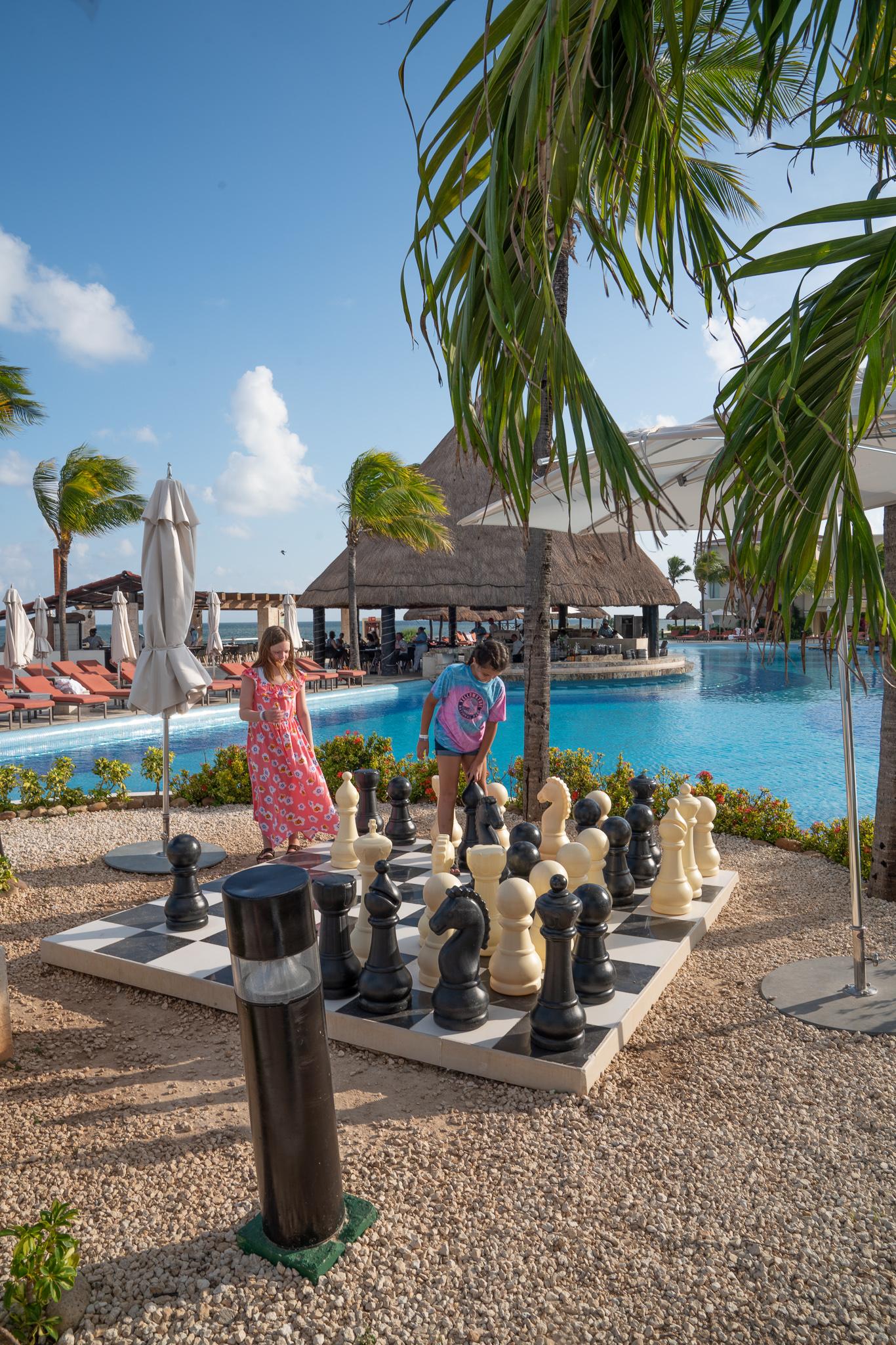 Life-size chess at the Grand at Moon Palace Cancun