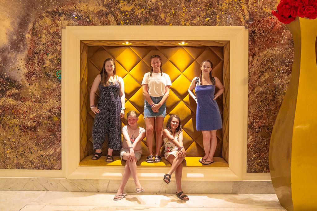 Teen girls posing at The Grand at Moon Palace Cancun