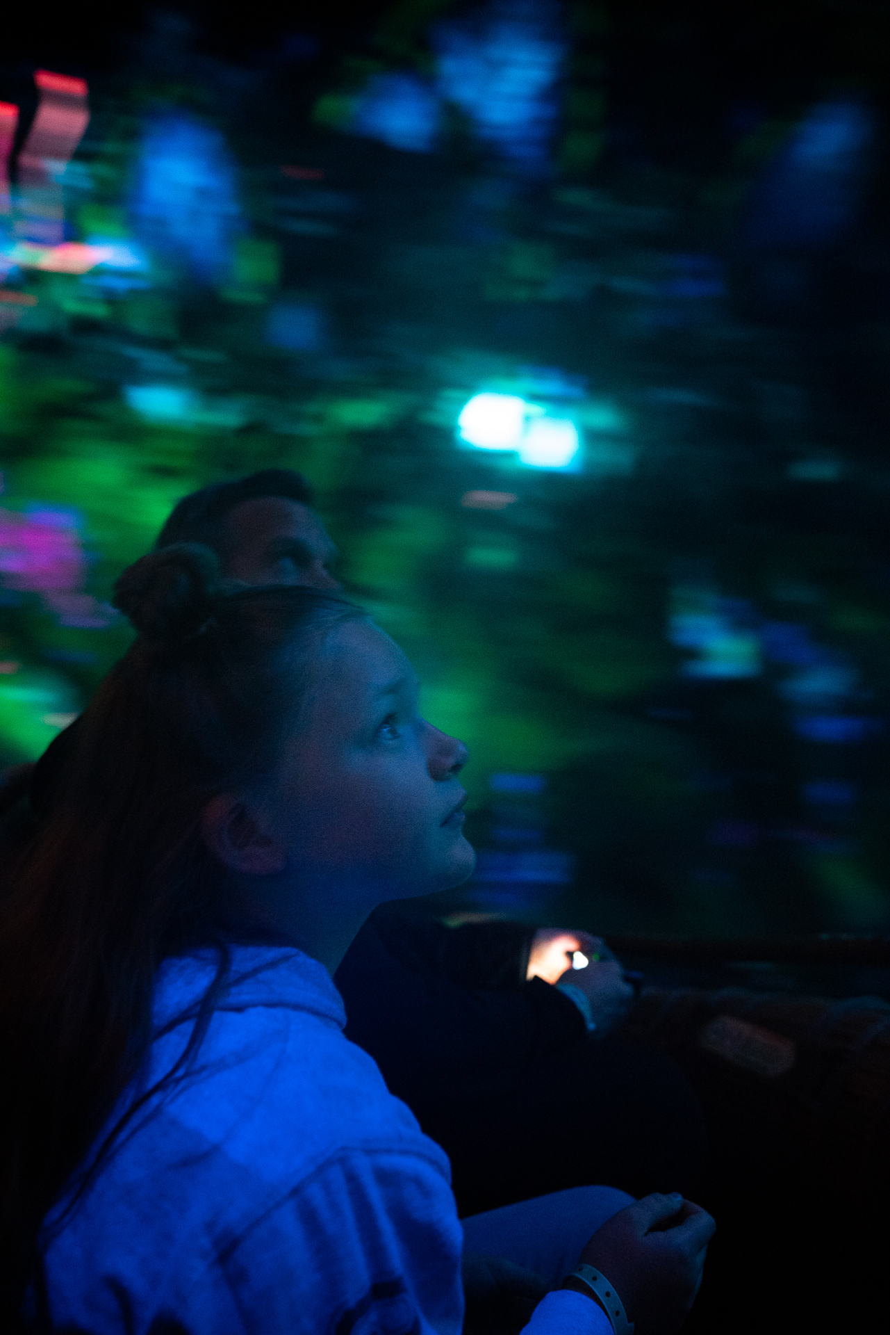 Dad and daughter experiencing Na'vi River Journey at the Animal Kingdom at Walt Disney World