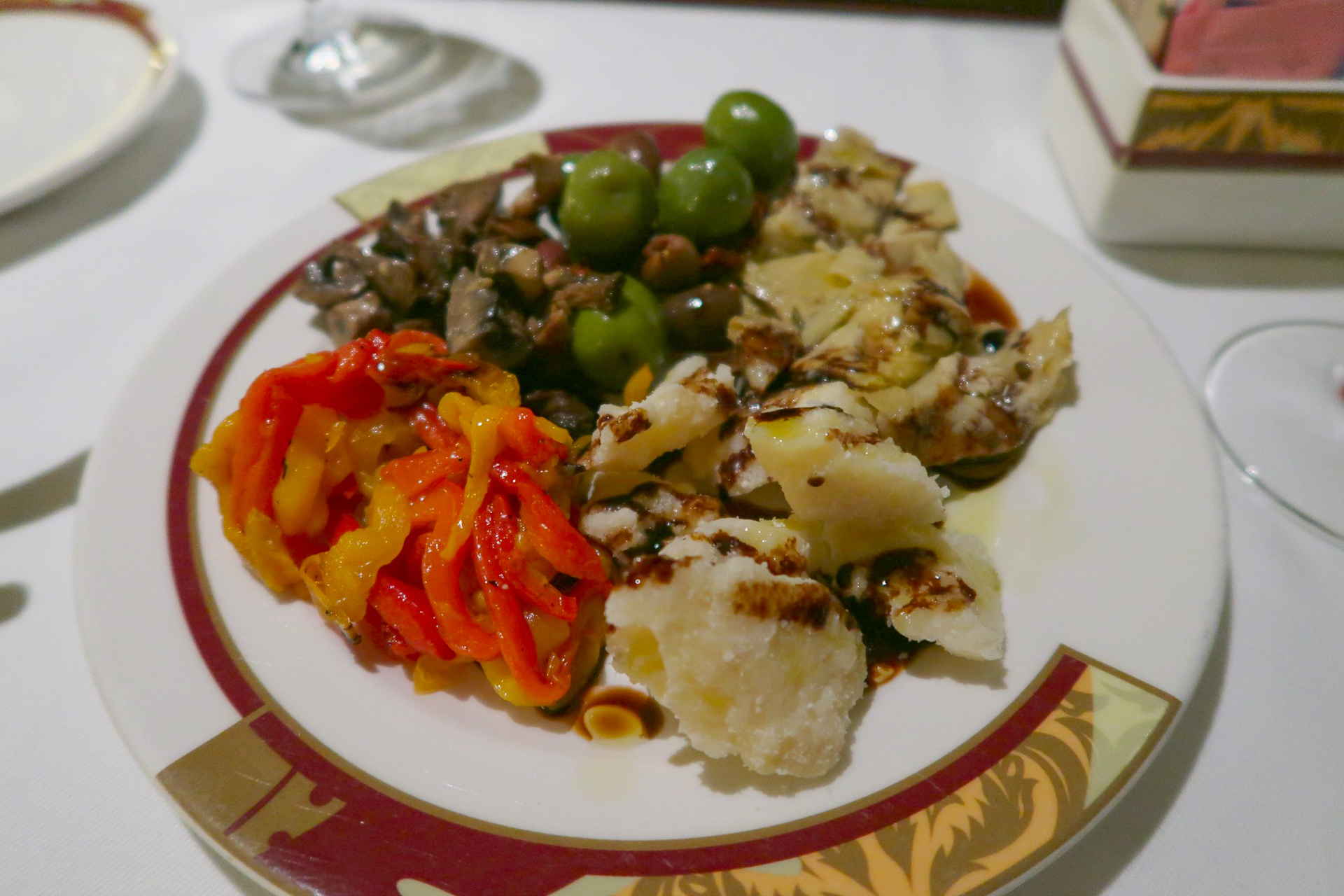 Vegan options from the antipasto cart at Palo dinner on the Disney Dream