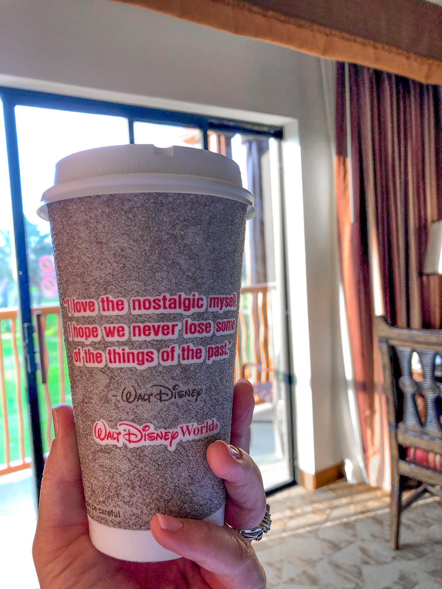 Morning coffee at the Animal Kingdom Lodge at Walt Disney World
