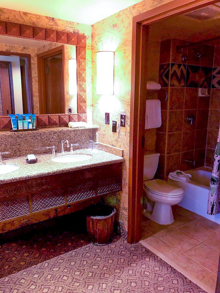 A bathroom in a hotel room in the Animal Kingdom Lodge at Walt Disney World