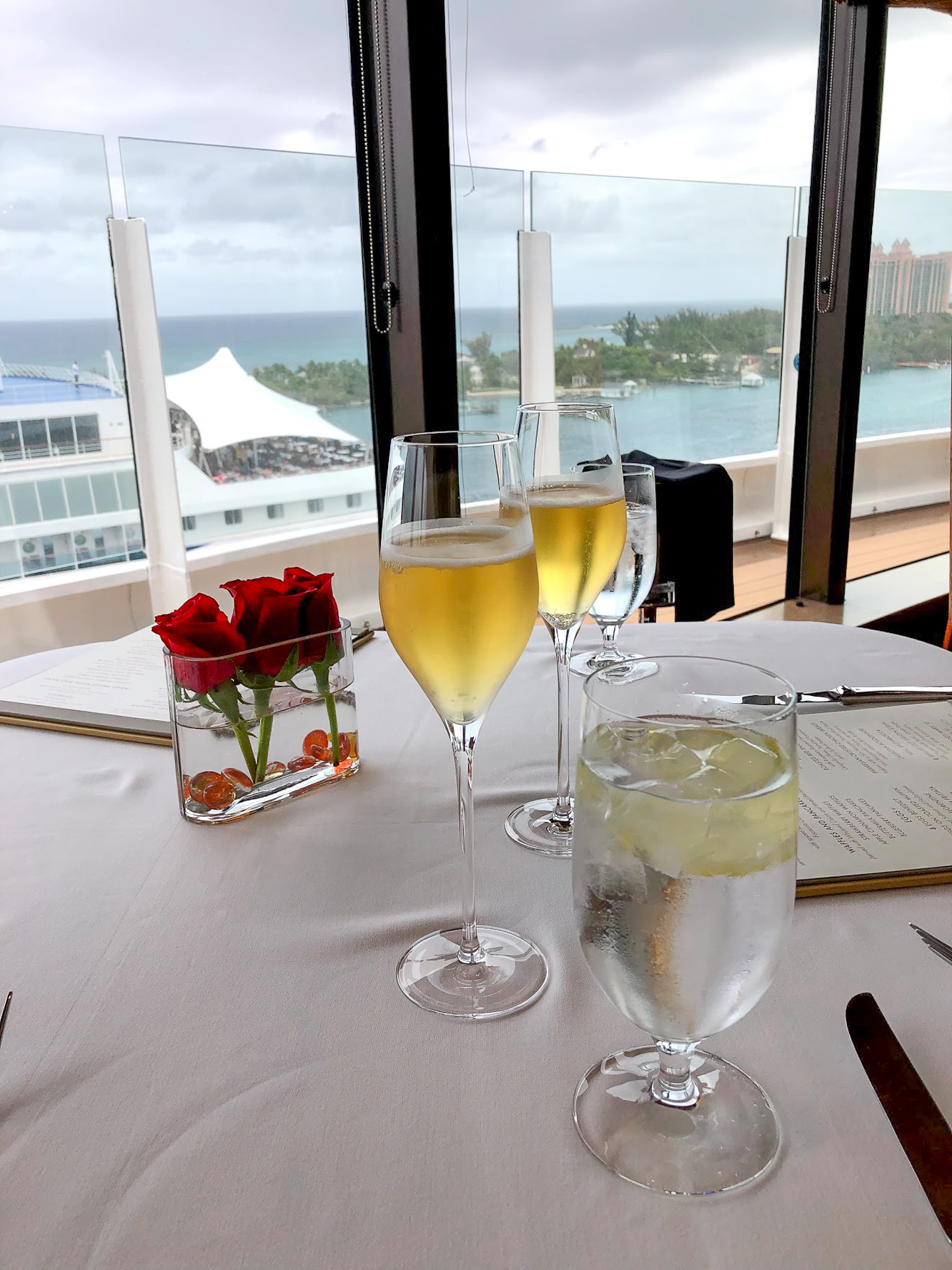 Complimentary sparkling apple cider at Palo Brunch on the Disney Dream
