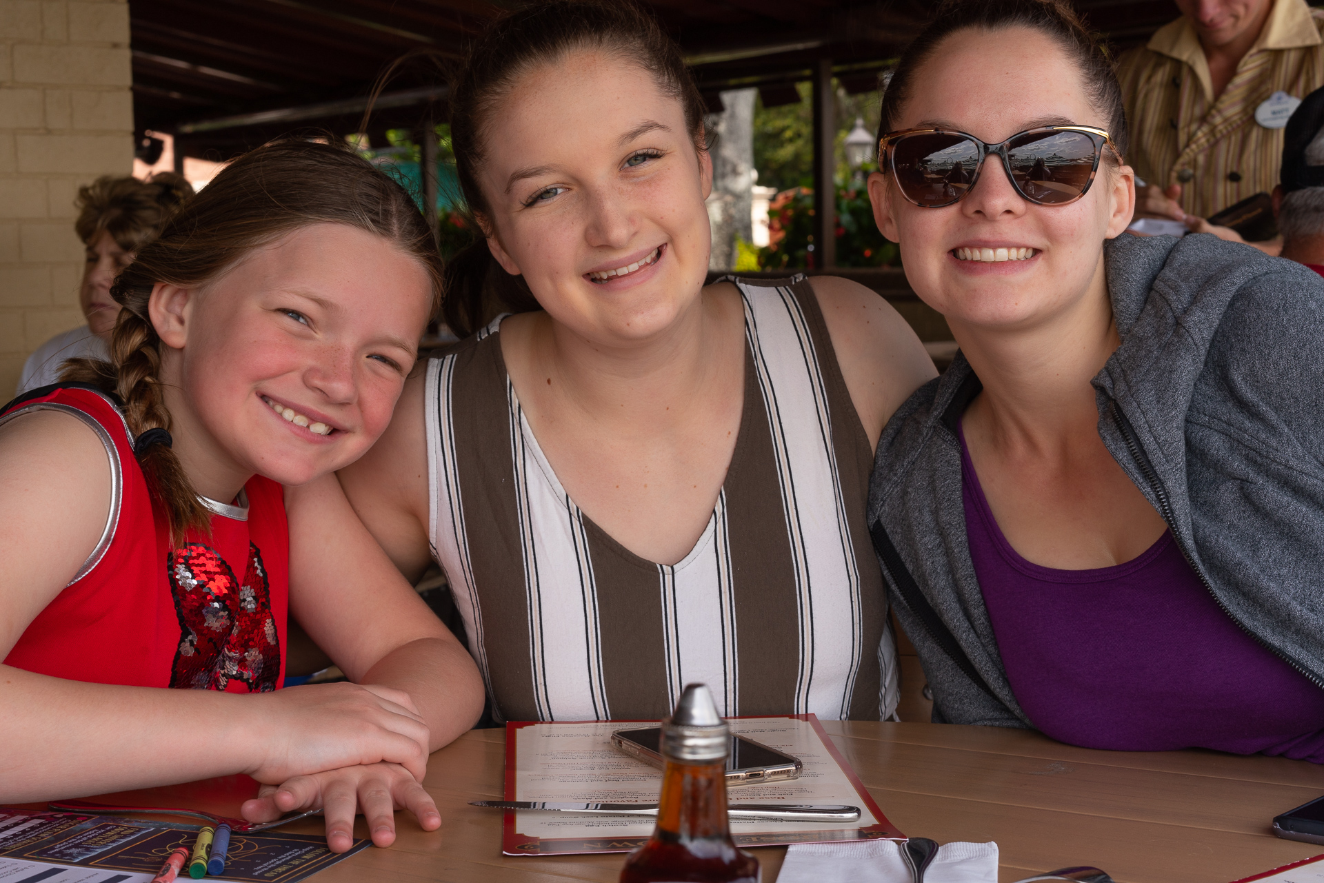 Three girls at the Rose and Crown in Epcot at Walt Disney World