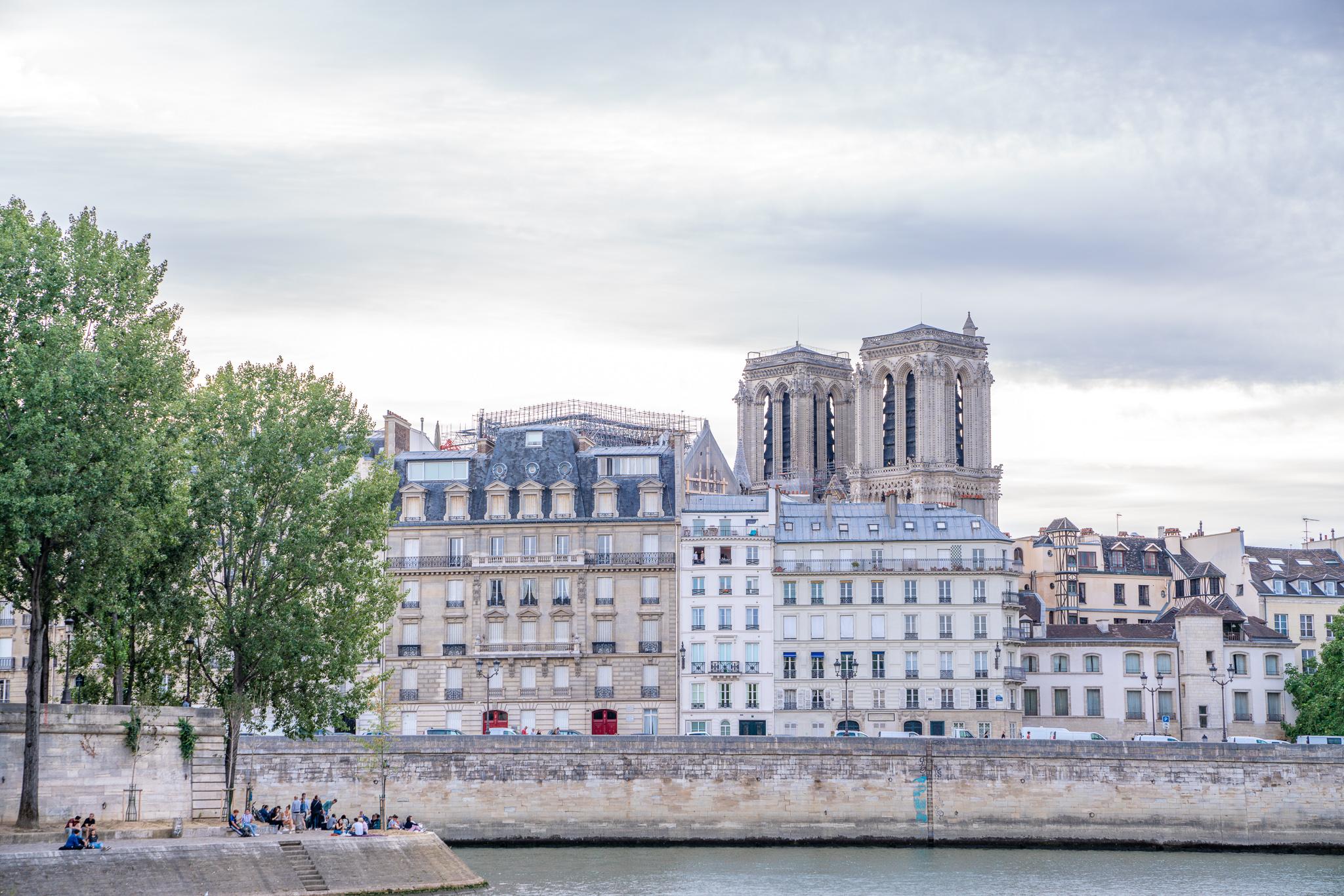 Buildings along the Seine river in Paris, France