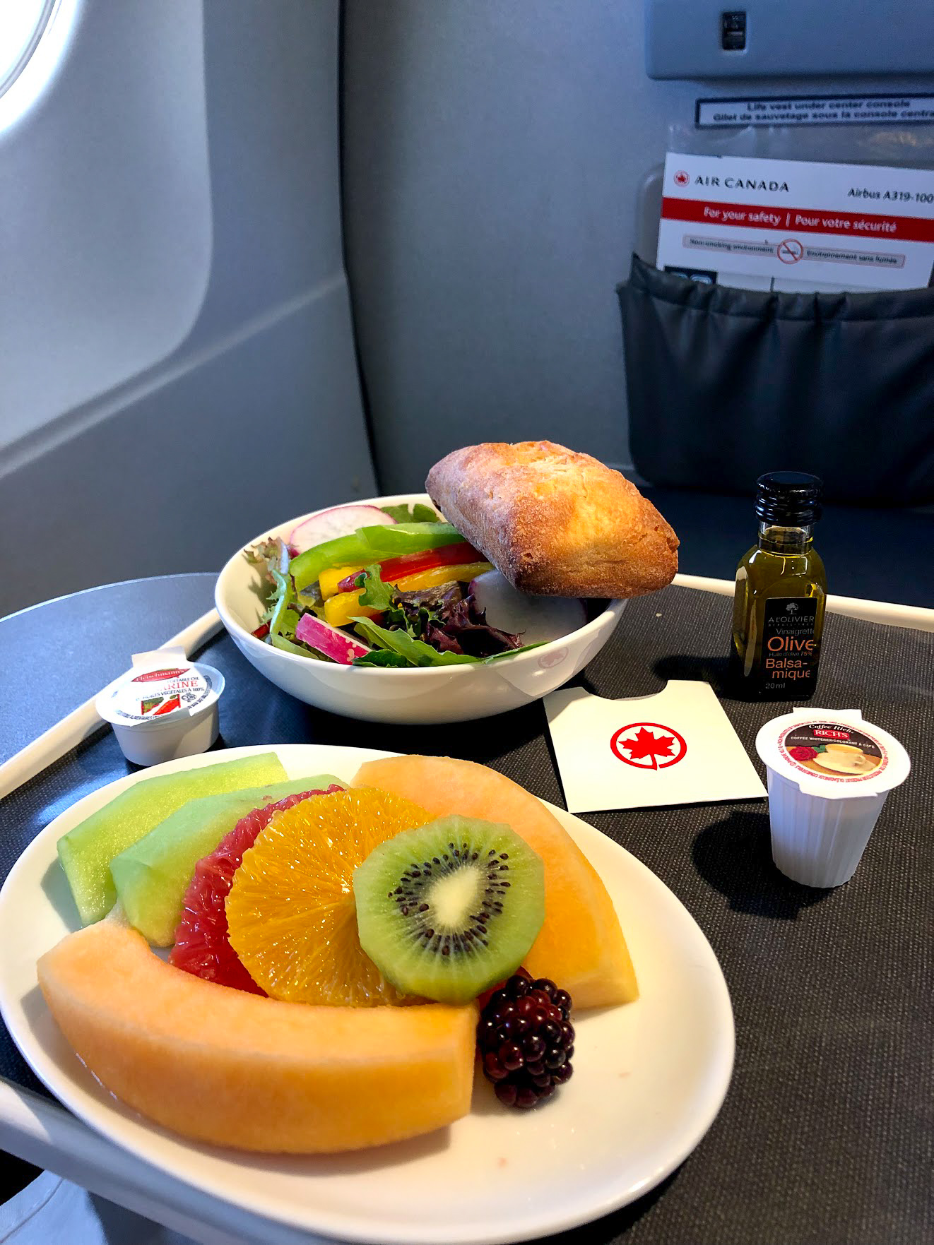 Air Canada vegan meal LAX to Calgary Business Class