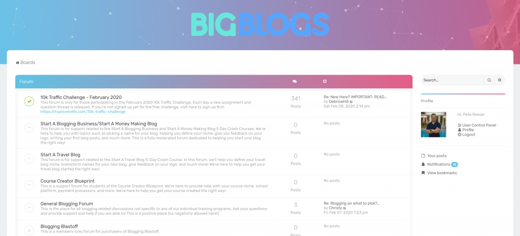 Big Blogs new blogger forum and community