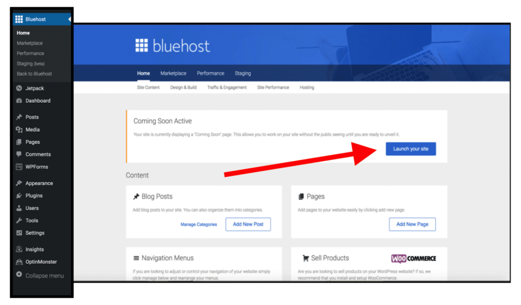 How to Launch Your Bluehost WordPress Site and Make Your Blog Live