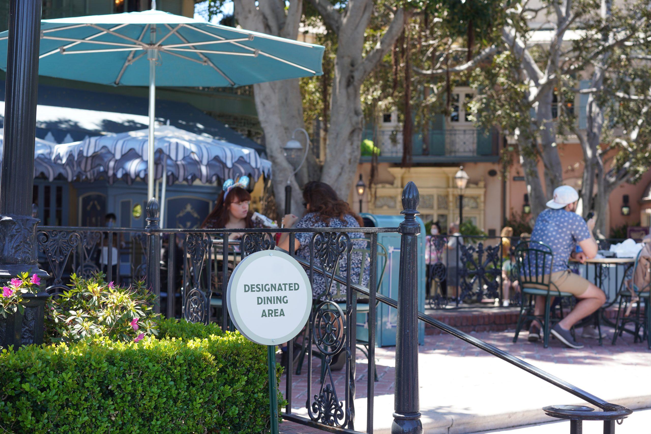 Designated dining area inside Disneyland
